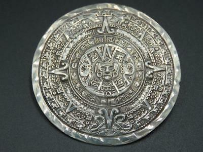 Vintage Mexico Sterling Silver Aztec Mayan Calendar Round Pendant Pin