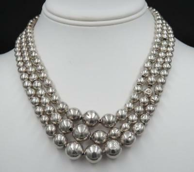 """Vtg Signed Taxco Mexico Sterling 3 Strand Graduating Ball Bead Necklace 16 1/2"""""""