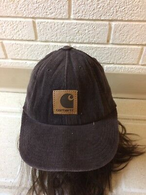 Vintage Carhartt dark Brown Tan logo patch Corduroy Snapback Hat Made in  USA EUC ea60945ada8
