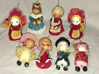 8 Vintage Paper Mache/Felt/Wood Folk Art People Christmas Ornaments