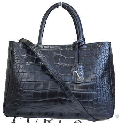 Authentic FURLA 2Way Shoulder Hand Bag Genuine Embossing Leather Black  05EM339 f342a220b8