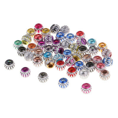 50x Colorful Carved Aluminium Spacer Loose Big Hole Bead European Charm DIY