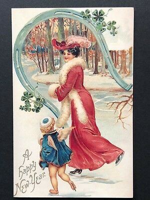 repro vintage postcard NEW YEAR ice skating LADY LUCK Pleiades Press p110 NOS