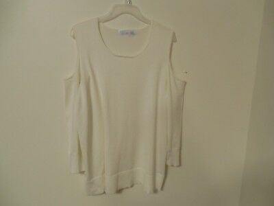 310996e087d0d NWT Womens Time and Tru cold shoulder sweater XL 16-18 solid Ivory semi  fitted