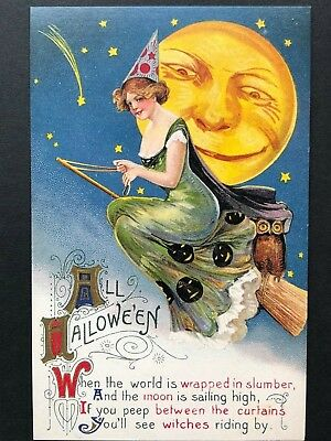 repro vintage postcard HALLOWEEN WITCH MOON Schmucker Pleiades Press p115 NOS