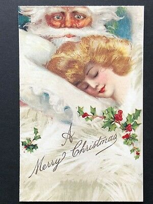 repro vintage postcard CHRISTMAS SANTA Schmucker girl Pleiades Press p116 NOS