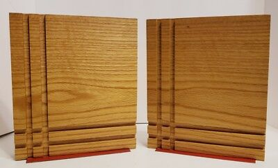 "Pr Mid Century Wooden Bookends Extra Large Square Decorative Wood Block 8.5""H"