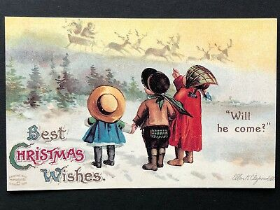 repro vintage postcard CHRISTMAS WISHES kids sleigh Nick Pleiades Press p118 NOS