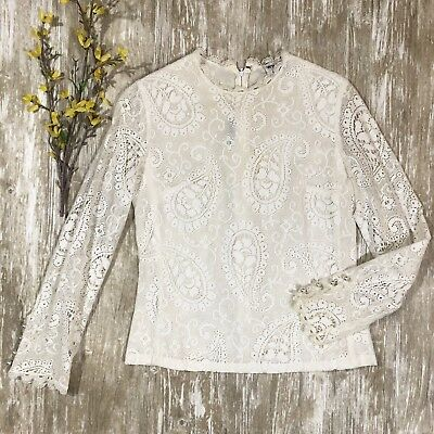 1f3407110b104b EUC Vintage Wilroy New York White Lace Top Long Sleeve Pearl Cuffs Women's  Small