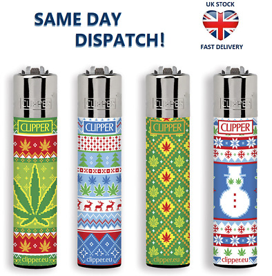 4x CLIPPER LIGHTERS LEAVES & SNOW Winter Weed Large Size Gas Flint Refillable