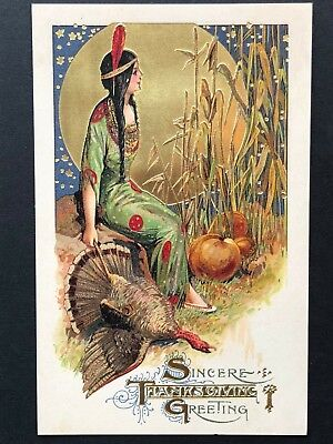 repro vintage postcard THANKSGIVING GOLD MOON PRINCESS Pleiades Press p121 NOS