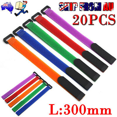 20pcs Multicolor Cable Ties Velcro Strap Tape Cable Organizer 300mm x 20mm New