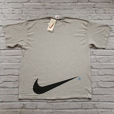 45262f7ad8cfe VINTAGE NIKE BIG Logo Swoosh Large T Shirt Black Red Gray 90s 100 ...