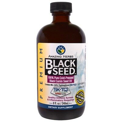 Amazing Herbs Premium Black Seed Cold-Pressed Oil -8 Ounce