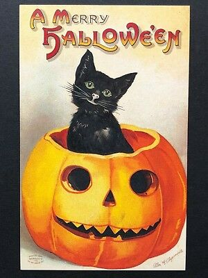 repro vintage postcard HALLOWEEN BLACK CAT Clapsaddle Pleiades Press p122 NOS
