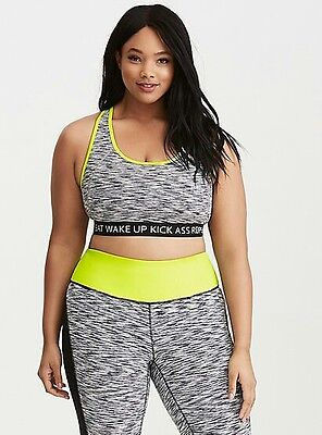 2fefd78c94eb2 NWT Torrid Active Plus Size 0X Large Wake Up Black Neon Spacedye Sports Bra   5