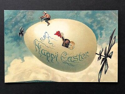 repro vintage postcard HAPPY EASTER EGG FANTASY surreal Pleiades Press p125 NOS