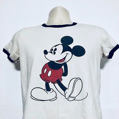 60d065b9 Mickey Mouse Womens Ringer Tee White Vintage Retro Disney Disneyland Sz  Large