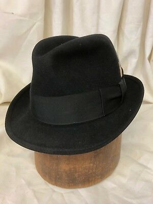 6aa2d40be9735 Finissimo Italy-Made Black Imported Fur Felt Snap Brim Trilby   Fedora Hat  6 7