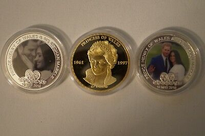 Mother and Son 3 x Plated Coins in Cases Princess Diana, Prince Harry, Meghan