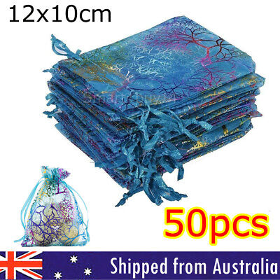 50pcs Organza Bags Wedding Gift Bag Jewellery Packing Pouch Bags 10x12cm AU