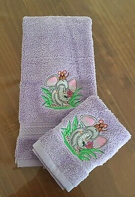 Kids Hand Towel Washer Set Embroidered Elephant  Baby Childrens Gift Baby Shower