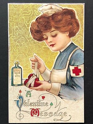 repro vintage postcard VALENTINE LOVE NURSE Schmucker Pleiades Press p130 NOS