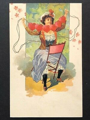 repro vintage postcard VALENTINE'S HEARTS MAIDEN beauty Pleiades Press p131 NOS