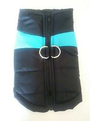 Quilted padded Dog Puppy Coat Jacket Winter Warm Puffer Small Vest black/ blue