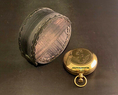 Brass Finish Dalvey Anchor Engraved Pocket Compass In Leather Gift Case Antique,