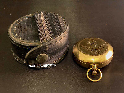 Brass Finish Dalvey Anchor Engraved Pocket Compass In Leather Case Free Gift
