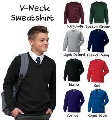 Boys School Jumper Black Navy V-Neck Sweater Fleece Sweatshirt Uniform Ages 3-13