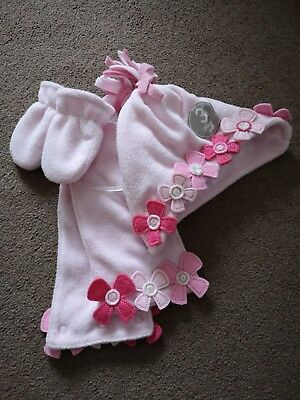 Next Baby Girls Pink 3 Piece Hat Scarf Gloves Set 0 - 3  Months Bnwt