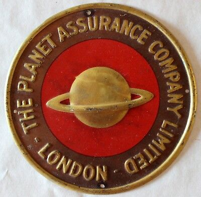 Fire Mark of the Planet Assurance Company Limited London Insurance Tin Sign