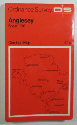 1965 Old Vintage OS Ordnance Survey One-inch Seventh Series Map 106 Anglesey