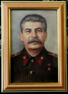 Joseph Stalin Framed Photo Portrait Special Print Metalized Canvas 10 x 15cm