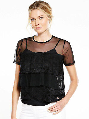 V by Very Mesh Frill Lace Top - Black - Size 10