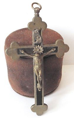 OUTSTANDING VINTAGE BRASS CROSS WITH CRUCIFIXION,EARLY 20th. Century !!! # 462