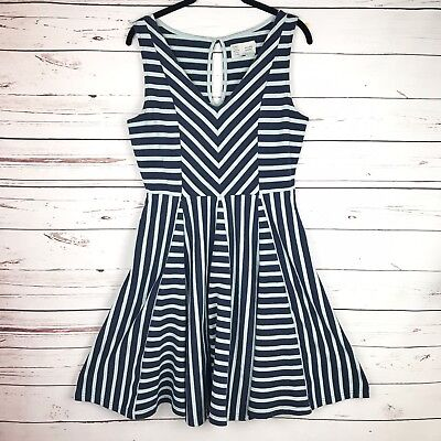 73452f81f95bb ANTHROPOLOGIE SATURDAY SUNDAY striped day dress navy blue and aqua ...