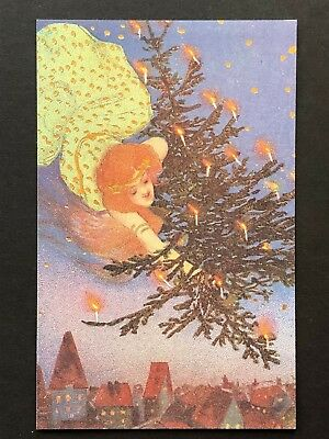 repro vintage postcard CHRISTMAS TREE KIRCHNER GIRL gold Pleiades Press p140 NOS