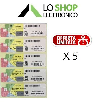 5x LICENZA WINDOWS 10 PRO PROFESSIONAL 32/64BIT LABEL STICKER COA PRODUCT KEY