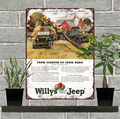 """1945 Willys Jeep Ad From Farmer to Farm hand mancave Metal Sign 9x12"""" 60677"""