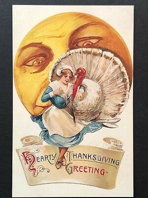 repro vintage postcard THANKSGIVING FULL MOON turkey Pleiades Press p145 NOS