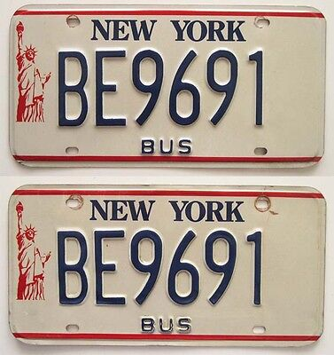 New York 1986-2000 BUS Statue of Liberty License Plate PAIR Transit Beauties!