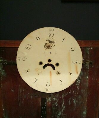 Antique Vintage Enameled Tin Enamel Clock Face Dial