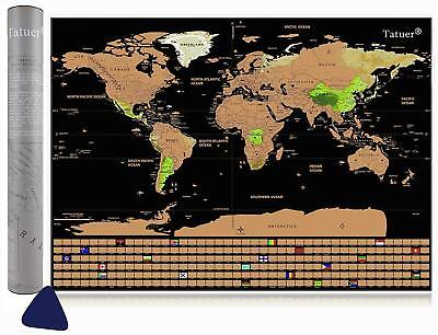 Scratch Off World Map Poster Scratch-able Detailed Travel Tracker Map with