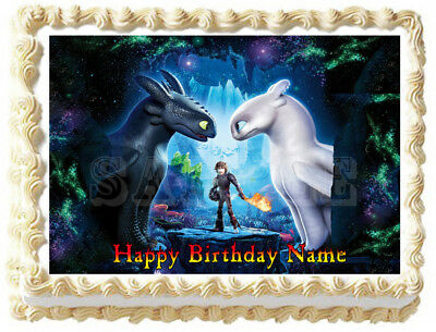 HOW TO TRAIN YOUR DRAGON Toothless and Light Fury Edible Cake topper image