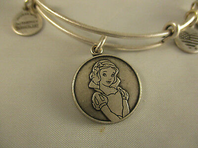 Disney Parks Alex and Ani Snow White Charm Bangle Bracelet Silver Finish