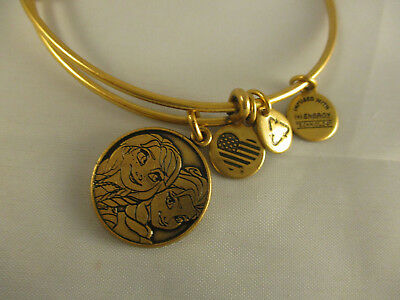 New Disney Parks Alex and Ani Elsa & Ana Charm Bangle Bracelet Gold