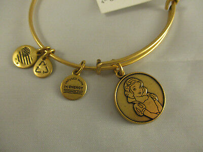 Disney Parks Alex and Ani Snow White Charm Bangle Bracelet Gold Finish
